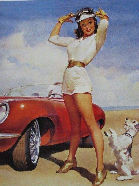 Gil Elvgren, circa 1969 for Ditzler Auto Paints & Finishes calendar.