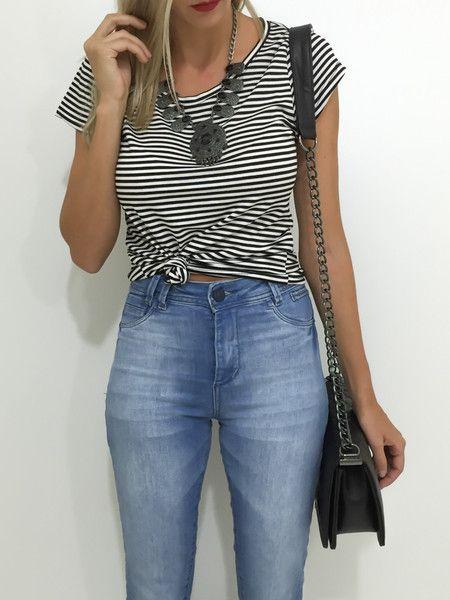 T-shirt listrado - Flávia Christina
