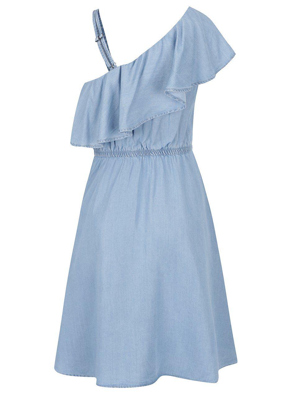 Modré džínové šaty s volánem a odhaleným ramenem Noisy May Nesli ... 621990d0c0f