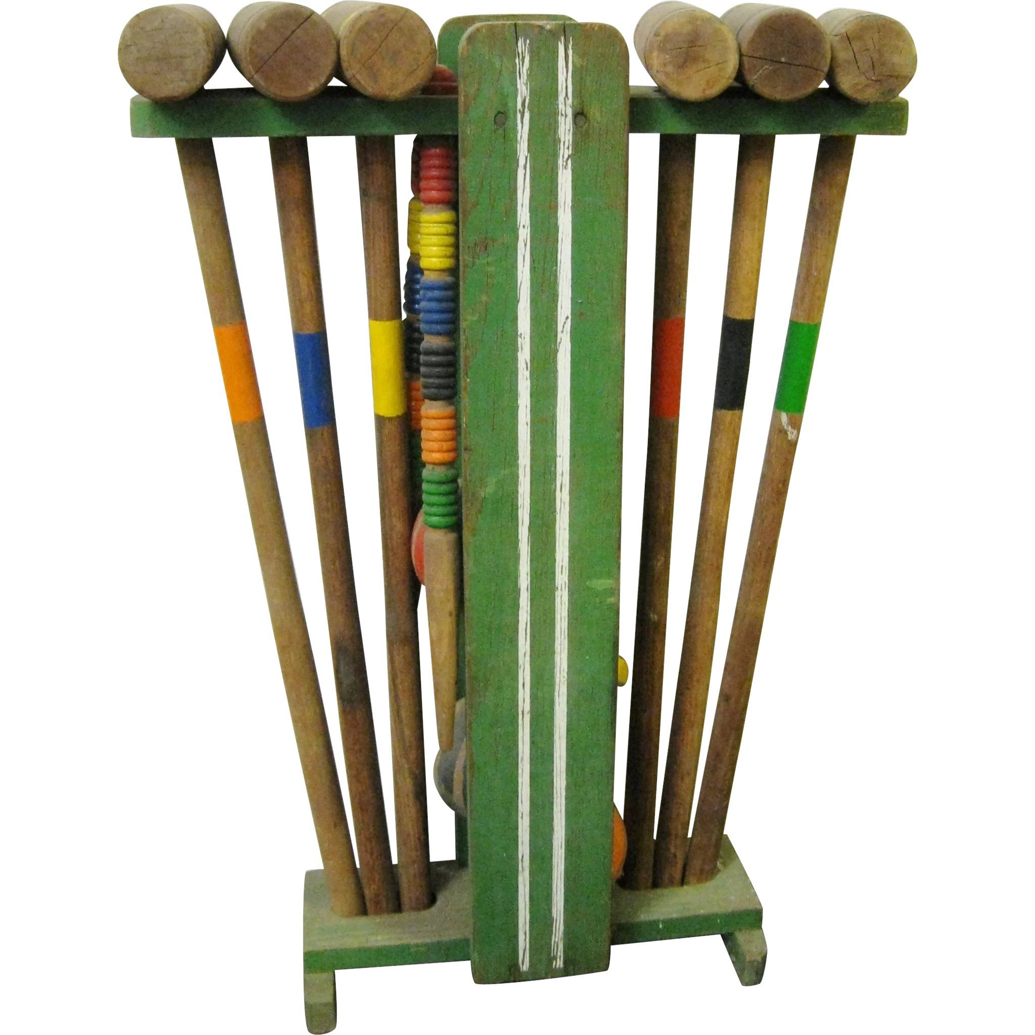 Vintage Wooden Croquet Set With Stand Collectibles