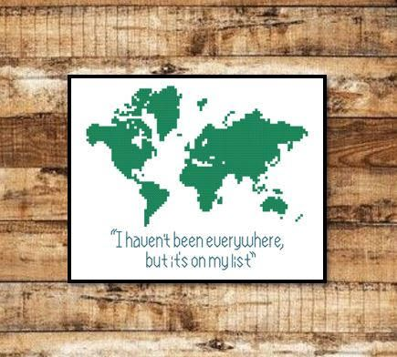 World map travel quote wanderlust design travel pattern cross world map travel quote wanderlust design travel pattern cross stitch pattern download pdf pattern only instant download gumiabroncs Choice Image