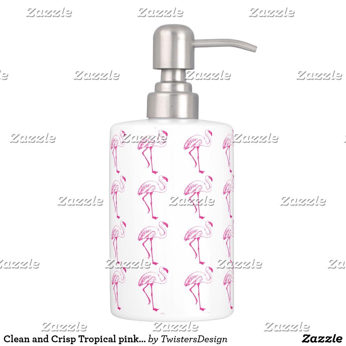 Clean A Bathroom Set clean and crisp tropical pink flamingo design bath set | bath