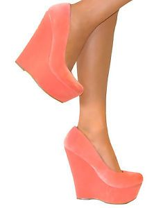 WOMENS-CORAL-SIZE-3-CHUNKY-SLIP-ON-WEDGE-HIGH-HEELS-PLATFORM-SHOE-SANDAL-SMART