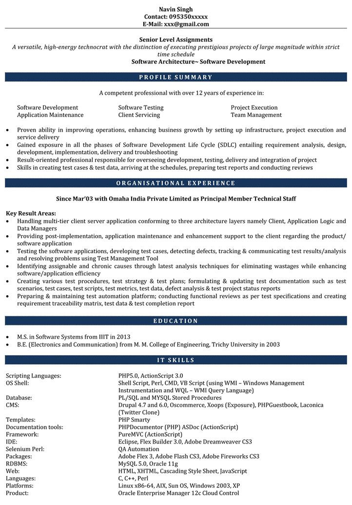 7 Years Experience Resume Format Resume Format Pinterest