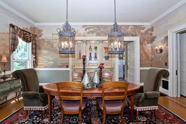 A fantasy-inspired dining room. The whimsical wallpaper ...