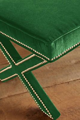 Awesome green bench!  Anthropologie Favorites:: The Bohemian Home