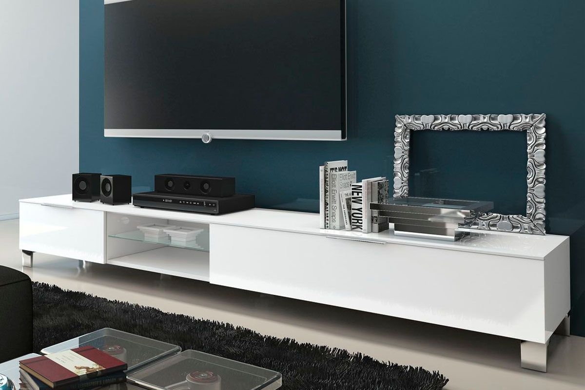 Vente Modern Italian Design 26019 Salon Meubles Tv Meuble  # Meuble Living Blanc Laque Brillant