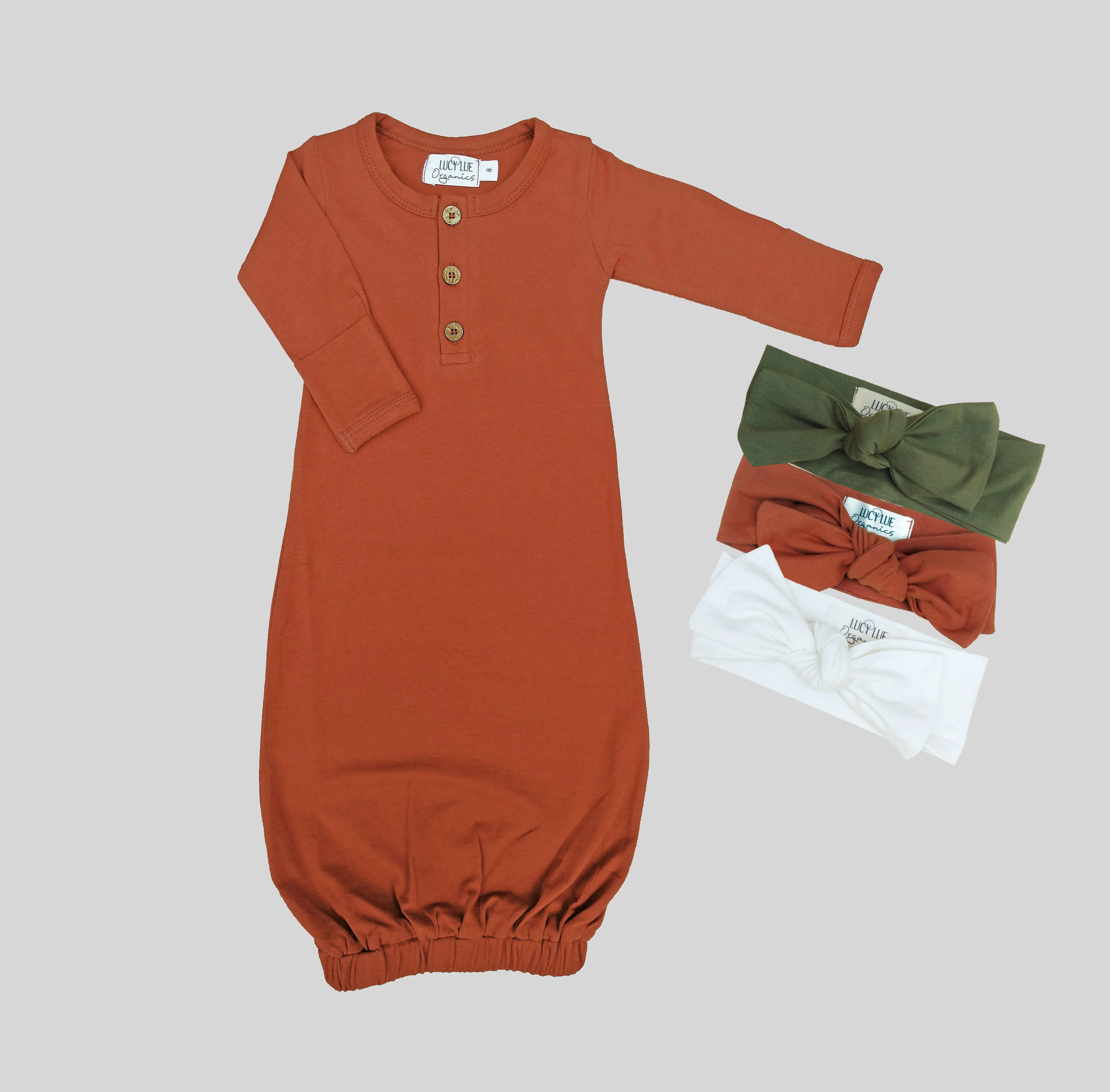 Modern Organic Cotton Baby Gown by Lucy Lue Organics. For the best in modern organic baby clothes, shop lucylueorganics.com.  #shopthelook #babymusthave #babygirl #babyboy #babyshop #babyclothes