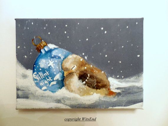 SILENT NIGHT, SHINY BRITE'..Ornament Bird painting Baby wren by 4WitsEnd, via Etsy