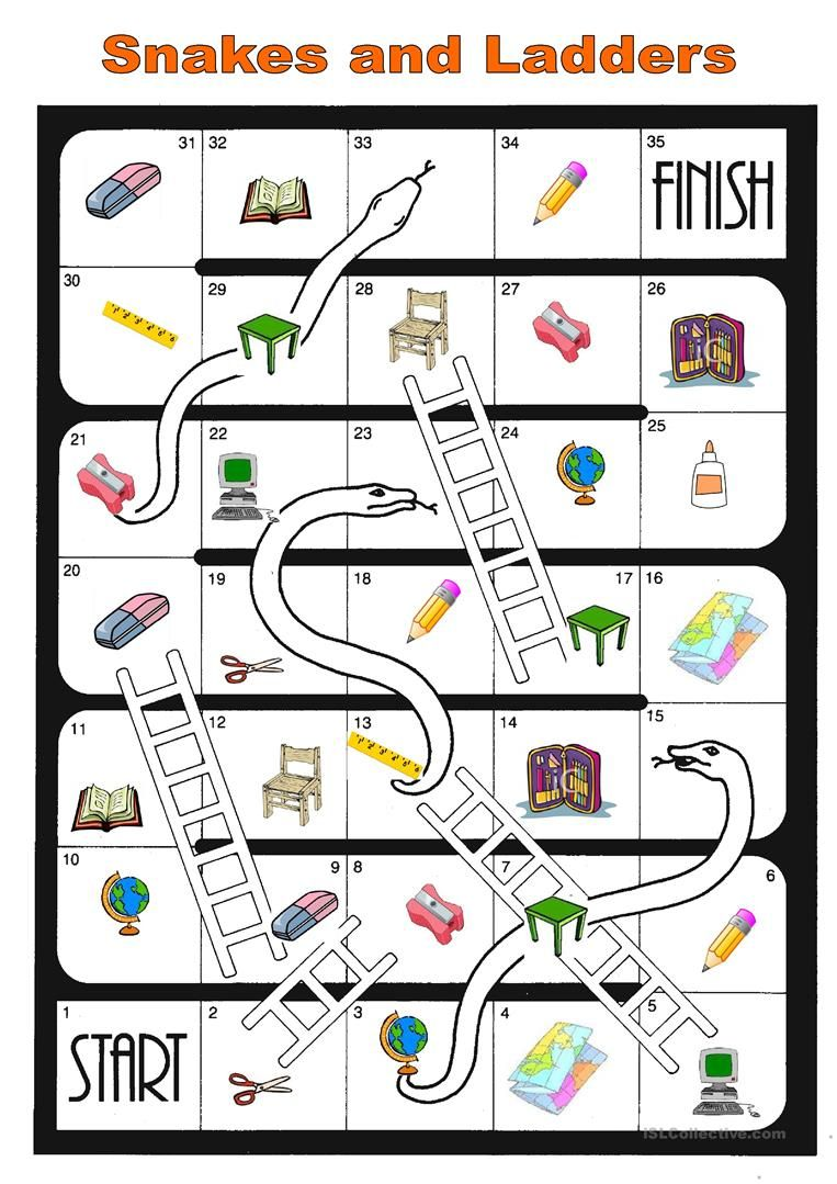board game school things worksheet - Free ESL printable ...