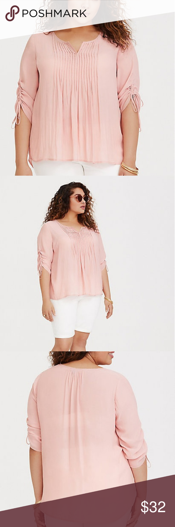 dcae6ebb773a5 Pink Pintuck Chiffon Blouse Ruched sleeves match the split neck of a semi-sheer  blouse