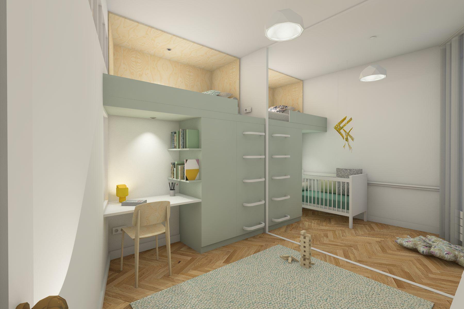 Chambre Pour Deux Enfants Avec Mezzanine Et Mobilier Sur Mesure