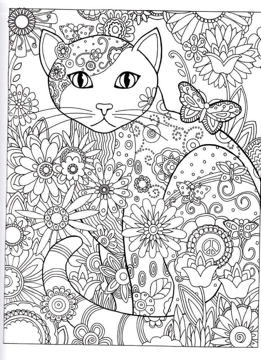 Stress relieving cats coloring - Cat Abstract Doodle Zentangle Coloring Pages Colouring Adult Detailed Advanced Printable Kleuren Voor