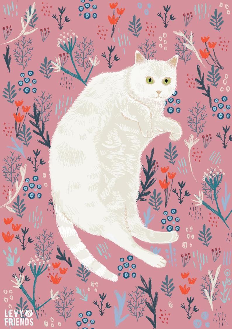 Cat Art Print, White Cat Print, Cat Poster, Cat Illustration, Cat Wall Art, Cat Drawing, Fat cat art
