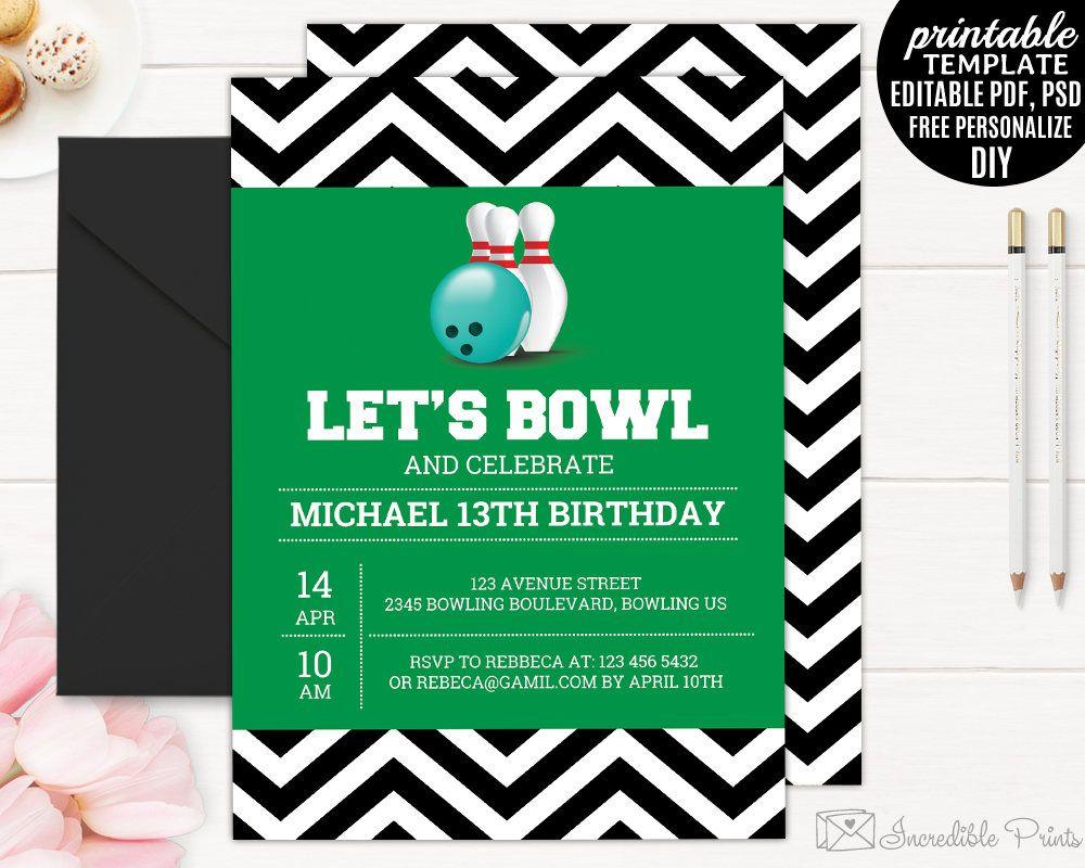Boy Birthday Invitation Template Printable Bowling Party Birthday