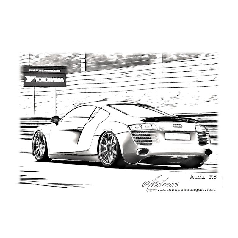 Audi R8 | Pencil drawing - sketch | Pinterest | Wandgestaltung ...