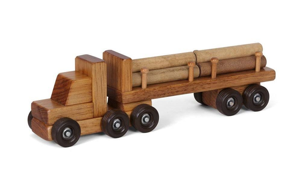 Log Tractor Trailer Truck Amish Handmade Wood Toy With