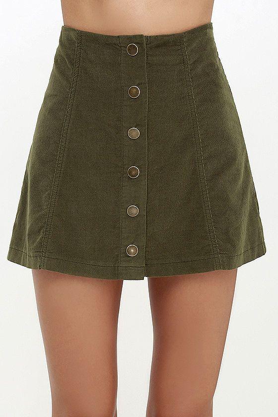 a978bf742 White Crow Austin Olive Green Corduroy Mini Skirt | ASOS+Lulus ...