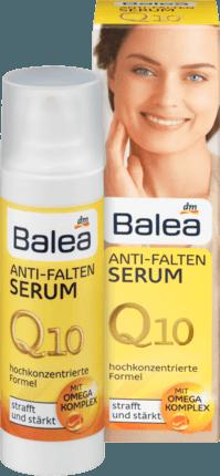 Das Balea Q10 Anti-Falten Serum mit Omega-Komplex steigert..