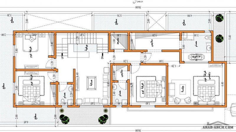 تصاميم فيلا دورين مساحة الارض 12x30 من تصميم تصميم المهندس احمد جاويش مكتب ياسر العقبي Square House Plans My House Plans Family House Plans