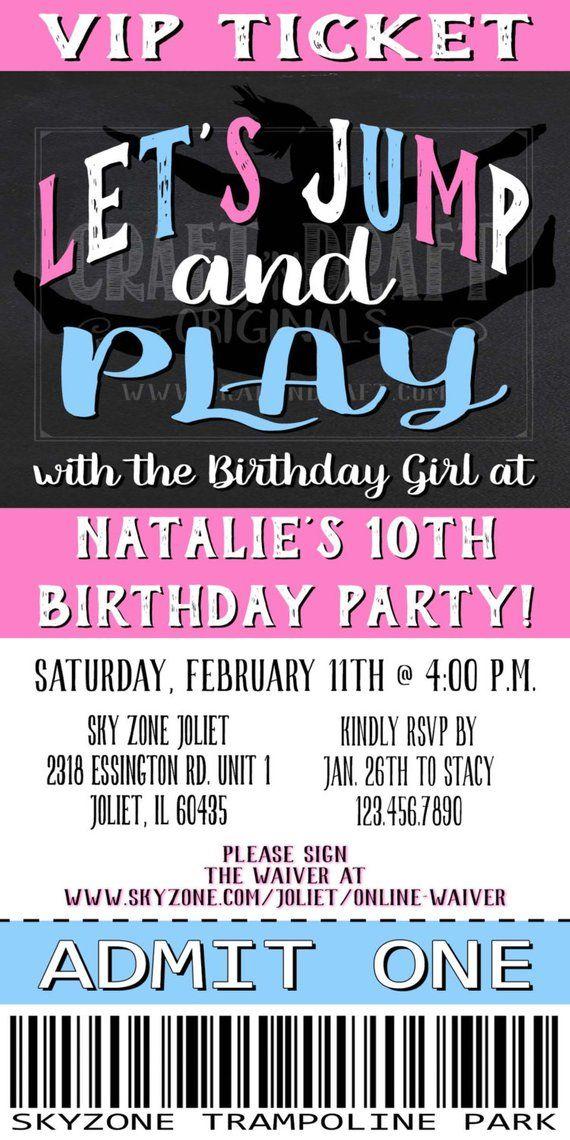 Printable Girls Birthday Invitation Ticket Gymnastics Birthday