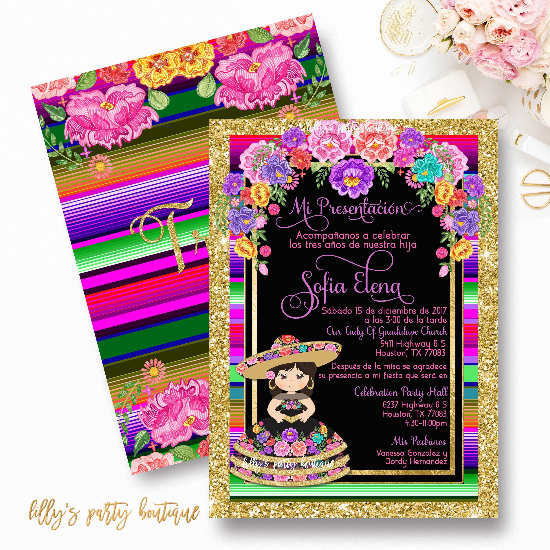 Fiesta Birthday Invitation, Mis Tres Anos, Presentacion, Third ...