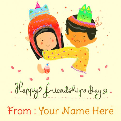 Write Your Name On Happy Friendship Day Cute Couple Pic