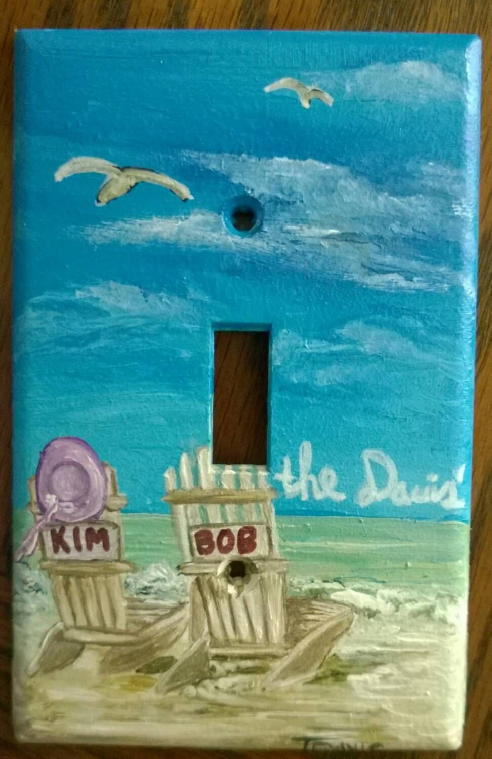 Personalized Beach Light Switch And Outlet Covers Hand Painted By