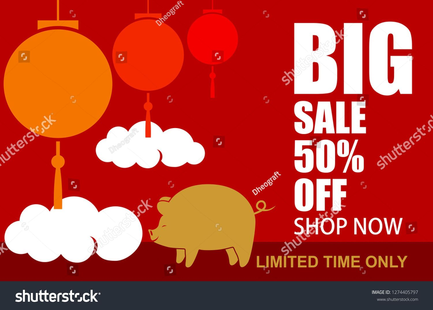 Chinese new year with big sale  off text abstract background vector also rh pinterest