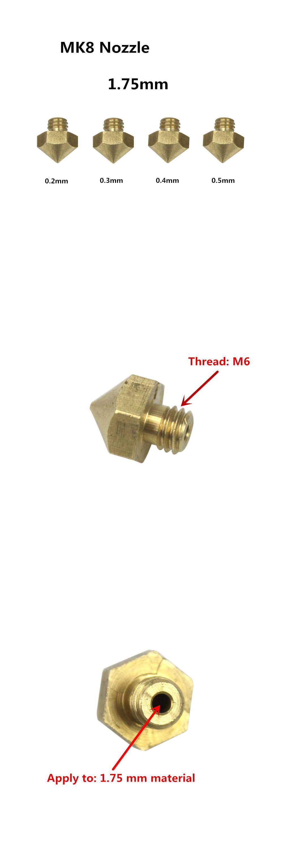 Visit to Buy] 5Pcs Makerbot MK8 nozzle impressora 3D printer