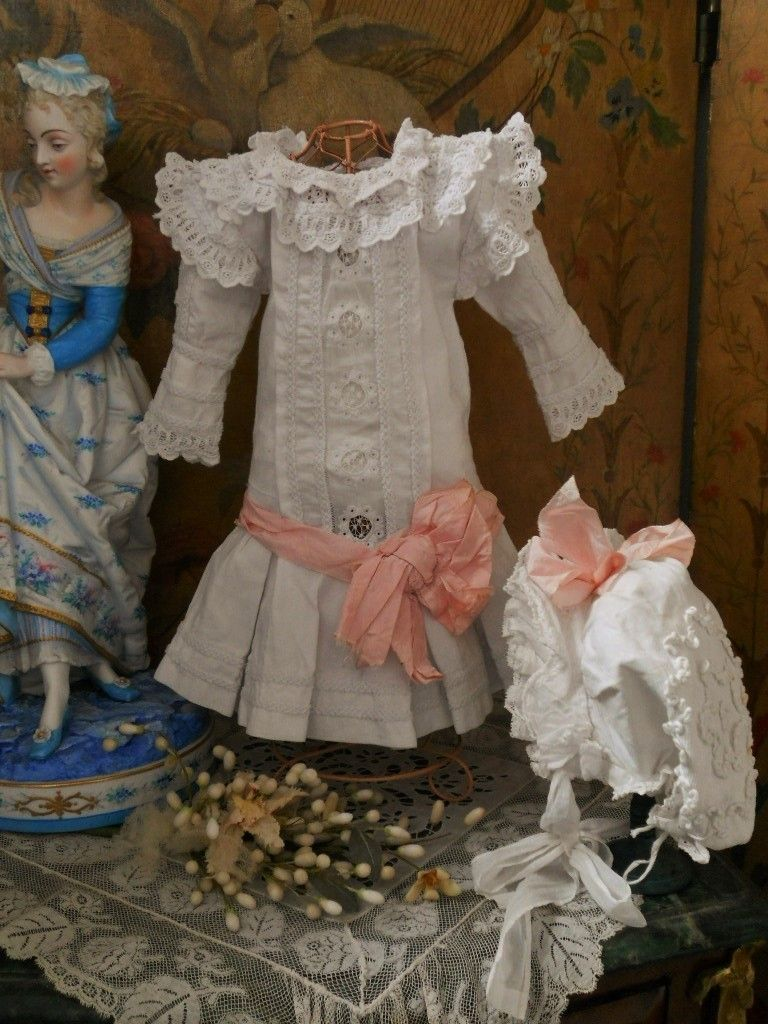 ~~~ Beautiful French 19th. Century Pique Dress with Bonnet ~~~