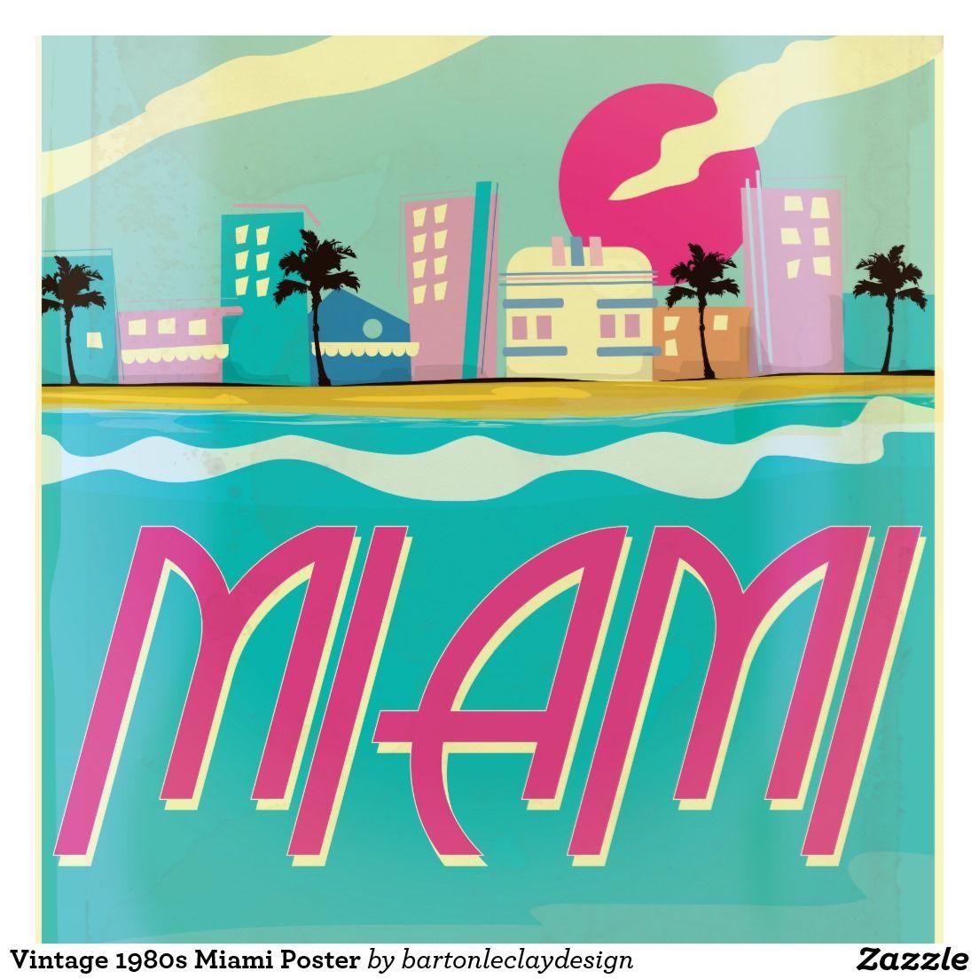 Vintage Miami Print Miami Posters Miami Art Deco Vintage Posters