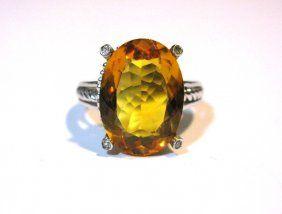 At Auction 02/21/16: 10k WHITE GOLD DIAMOND & GEMSTONE RING