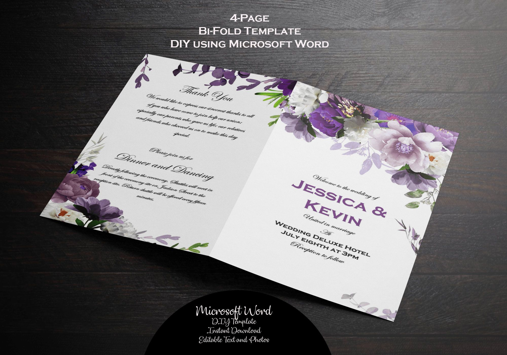 Lavender Floral Wedding Invitation Watercolor Flower Invitation Printable Purple Invitation Editable Template Reception Invitation