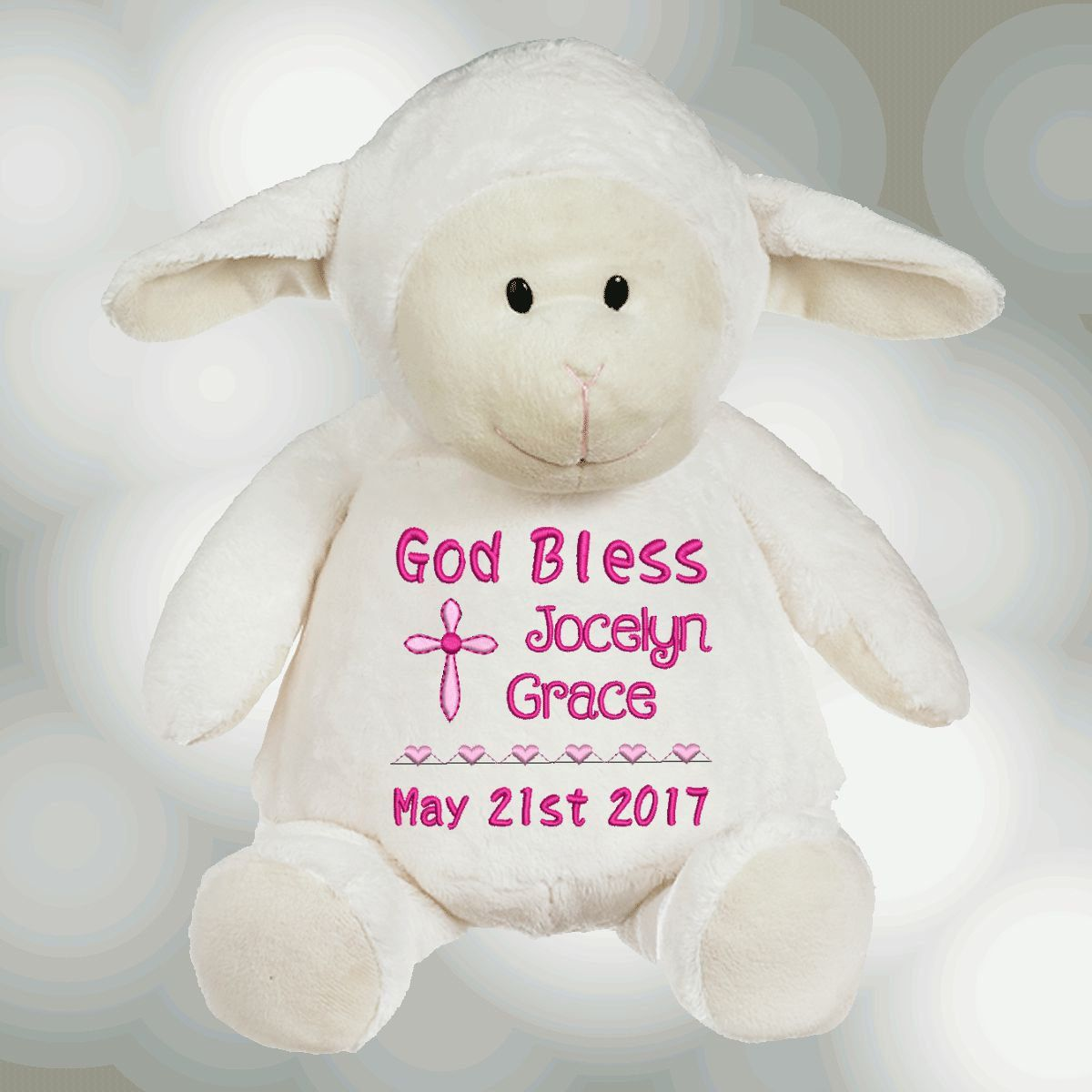 Personalized baby baptism gift embroidered soft plush baptismal personalized baby baptism gift embroidered soft plush baptismal lamb stuffed animal lamb by reneesembroidery negle Image collections