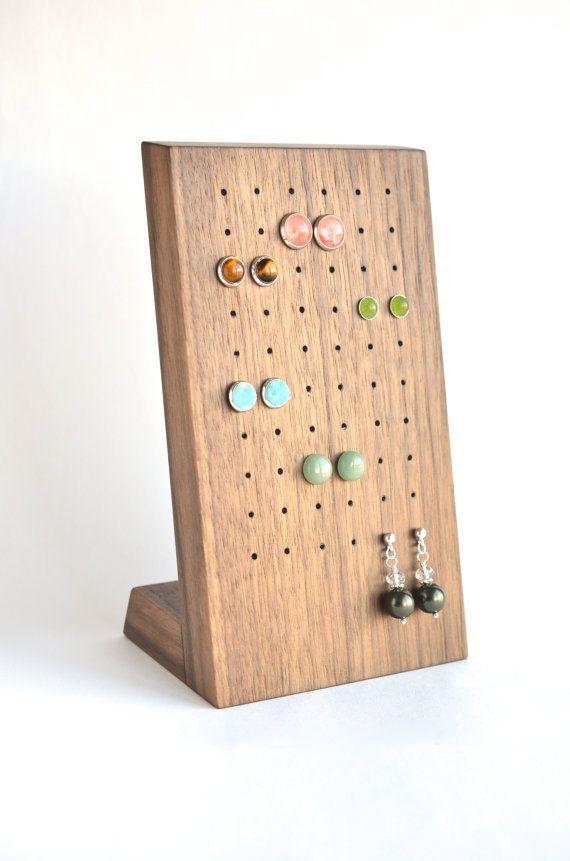 Stud earring holder, earring storage, wooden stud block ...