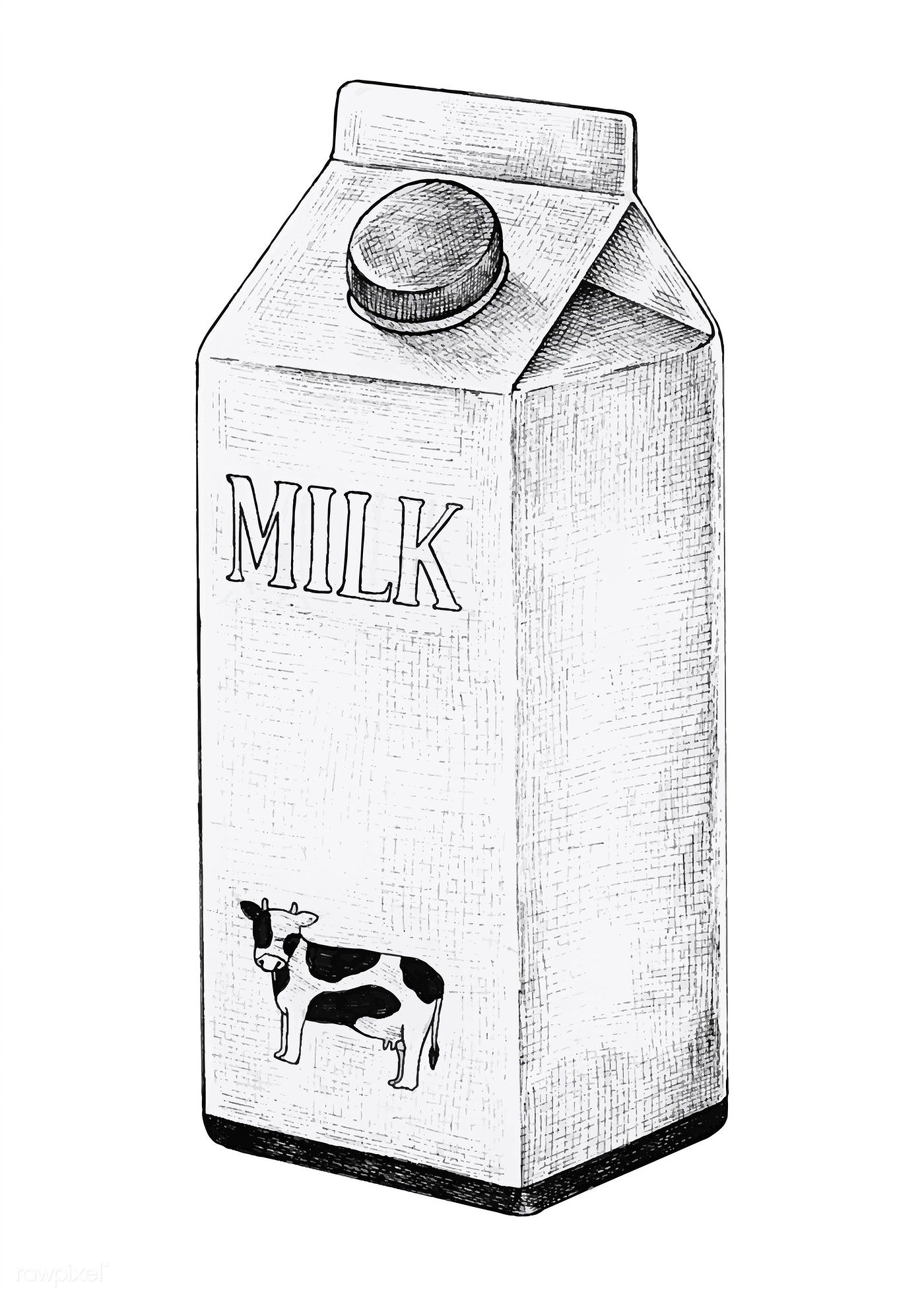 Download premium vector of Hand drawn carton of milk vector 1200259