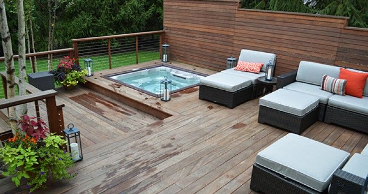 Modern Deck Sunken Hot Tub Close Up Hot Tub Backyard Hot Tub