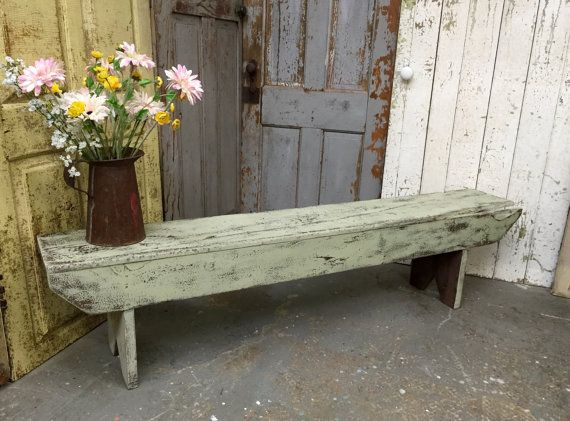 Peachy Vintage Bench Farmhouse Bench Rustic Wooden Bench Green Theyellowbook Wood Chair Design Ideas Theyellowbookinfo