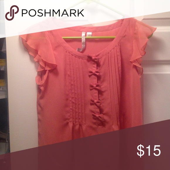 Trendy Peach Blouse Peachy Salmon Colored Blouse With Pleats And Bow