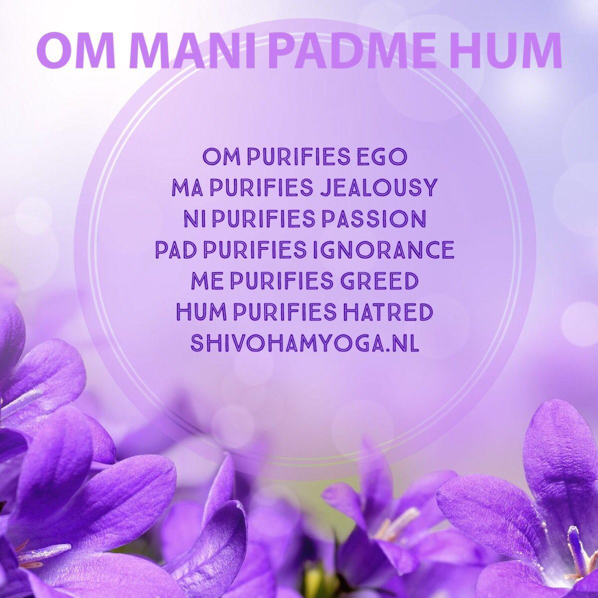 Om Mani Padme Hum Mantra Om Purifies Ego Ma Purifies Jealousy