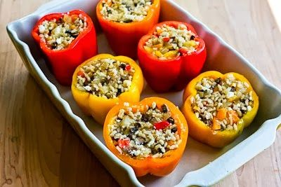 Kalyn S Kitchen Recipe For Vegetarian Stuffed Peppers With Brown Rice Mushrooms Stuffed Peppers Vegetarian Stuffed Peppers Easy Vegetarian Stuffed Peppers