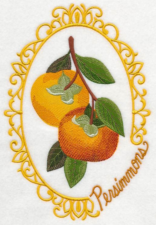 Fruit Cameo - Persimmons design (M4033) from www.Emblibrary.com