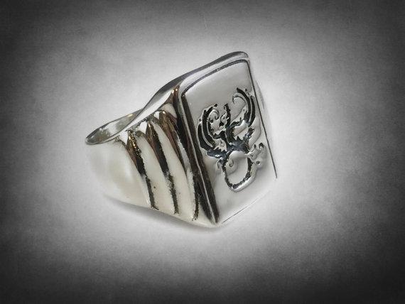 Phoenix bird mythology Signet Ring Solid Sterling by itz8686 Ezi