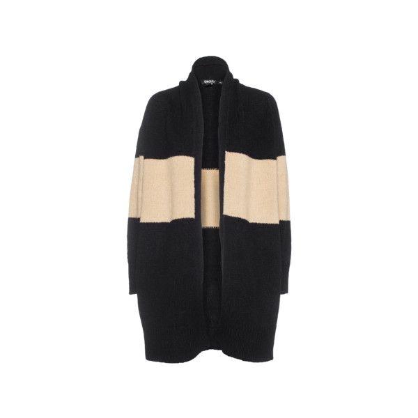 DKNY Wool Blend Camel Black Offener Woll-Mix-Cardigan - Cardigans (€369) via Polyvore