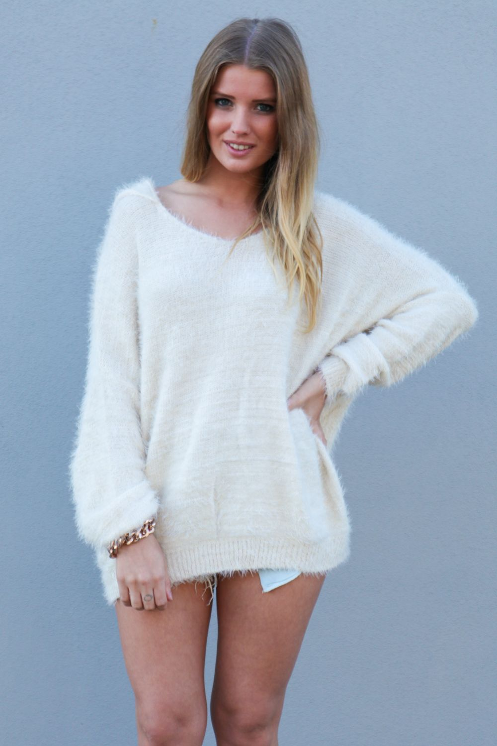 white furry sweater | Off-white Sweater - Cream Hooded Oversized ...
