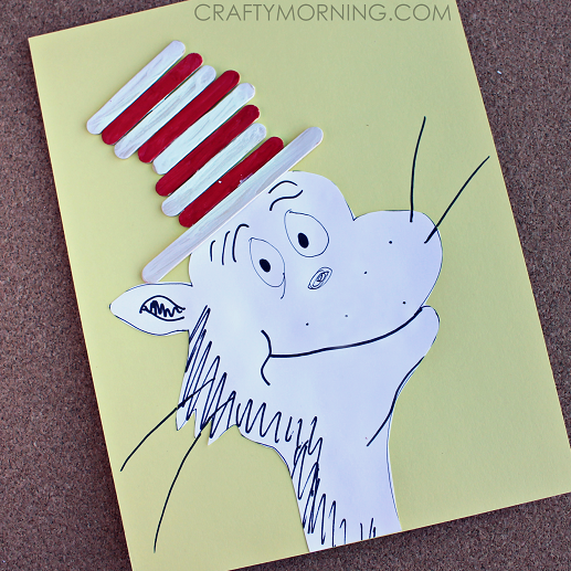 cat in the hat popsicle stick craft free printable - Printable Popsicle Coloring Pages