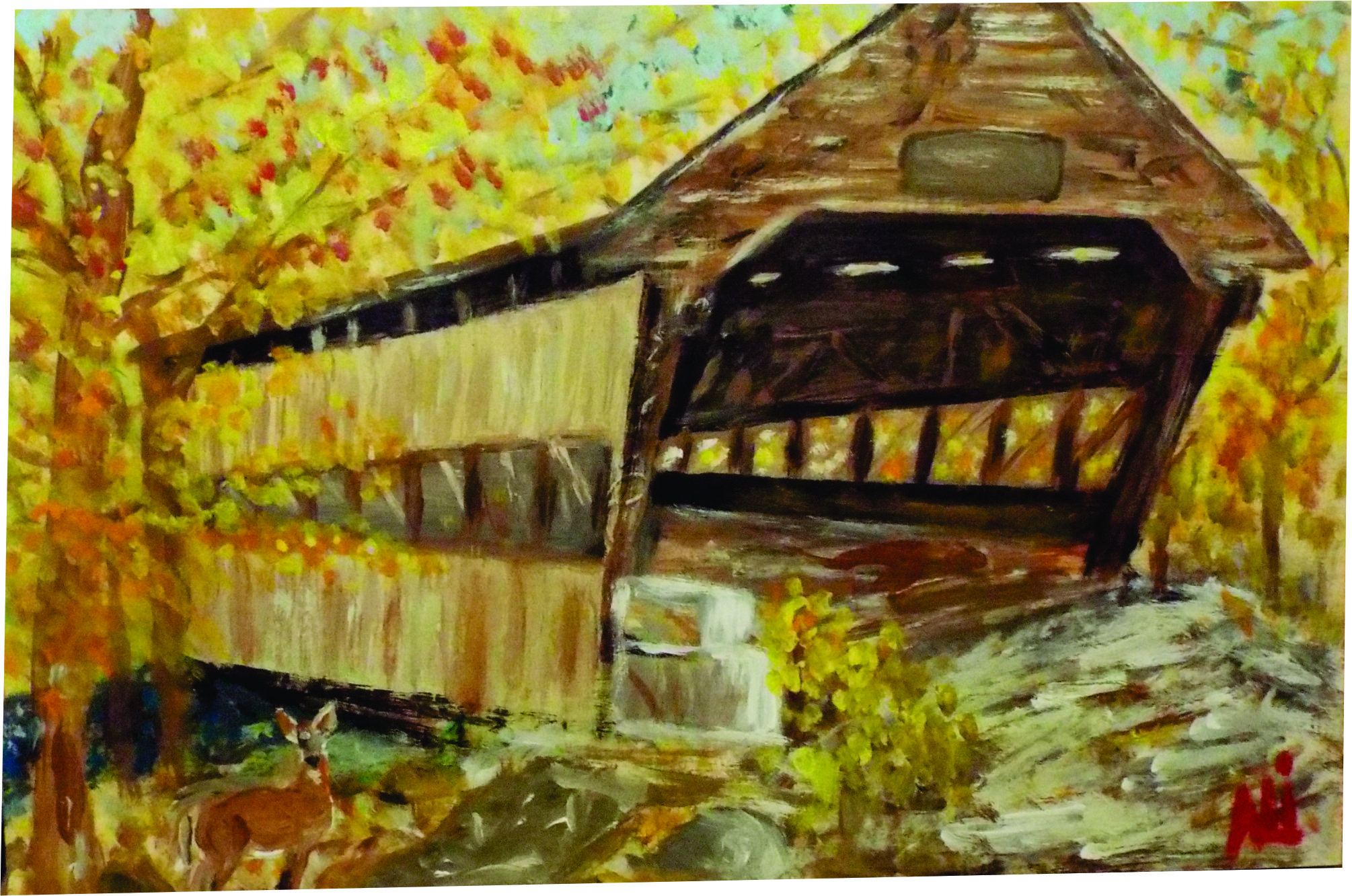 """""""New England Covered Bridge"""" Acrylic handpainted By"""