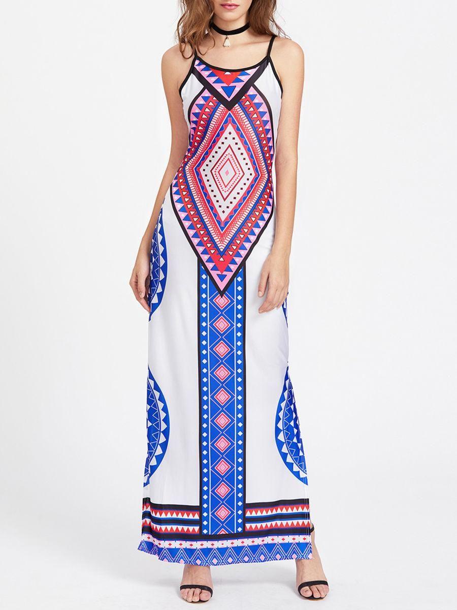 Fashionmia fashionmia spaghetti strap geometric printed side slit