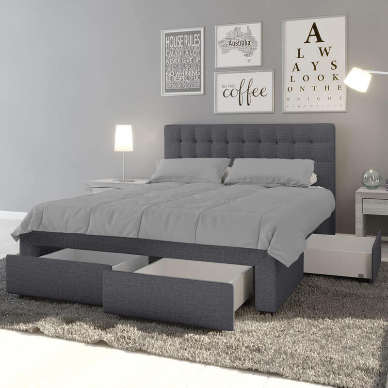 Martina Fabric King Bed With Storage Drawers Dark Grey Buy